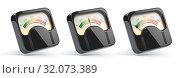 Купить «Vintage level indicators, rating customer satisfaction meters with different levels from red to green.», фото № 32073389, снято 19 января 2020 г. (c) Maksym Yemelyanov / Фотобанк Лори