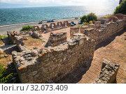 Купить «Ruins of Basilica of the Holy Mother of God Eleusa (6th century) in old town of Nessebar, Bulgaria», фото № 32073409, снято 26 июня 2019 г. (c) Юлия Бабкина / Фотобанк Лори