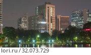 Lumpini Park, Bangkok, Thailand. DEC 2018 (2019 год). Редакционное видео, видеограф Александр Маркин / Фотобанк Лори