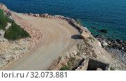 Aerial video view on old ruins near Aliki beach on Crete, Grece (2019 год). Стоковое видео, видеограф Serg Zastavkin / Фотобанк Лори