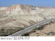 Beautiful landscape of Ein Avdat, Zin Valley and road. Negev, desert and semidesert region of southern Israel (2019 год). Стоковое фото, фотограф Валерия Попова / Фотобанк Лори