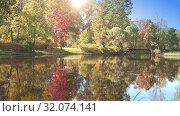 Купить «Sunny day on the shore of a forest lake early autumn. Trees with green, yellow and red leaves reflect in the water. Leaves from trees fall into the pond», видеоролик № 32074141, снято 19 сентября 2018 г. (c) Куликов Константин / Фотобанк Лори
