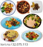 Купить «Set of assorted dishes with mushrooms», фото № 32075113, снято 21 февраля 2020 г. (c) Яков Филимонов / Фотобанк Лори