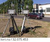 Купить «Камеры замера скорости на обочине дороги», фото № 32075453, снято 22 сентября 2018 г. (c) Вячеслав Палес / Фотобанк Лори