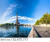 Купить «Panorama of the Eiffel Tower and riverside of the Seine in Paris», фото № 32075717, снято 1 августа 2019 г. (c) Ints VIkmanis / Фотобанк Лори