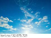 Купить «Небесный закатный пейзаж. Blue sky background - picturesque colorful clouds lit by sunlight, sunset sunny view», фото № 32075721, снято 18 января 2019 г. (c) Зезелина Марина / Фотобанк Лори