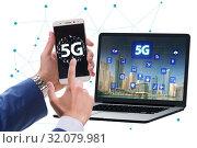 Купить «5G mobile technology concept - high internet speed», фото № 32079981, снято 20 сентября 2019 г. (c) Elnur / Фотобанк Лори