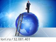 Купить «Businessman on top of the world», фото № 32081401, снято 20 сентября 2019 г. (c) Elnur / Фотобанк Лори