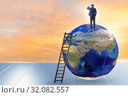 Купить «Businessman on top of the world», фото № 32082557, снято 20 сентября 2019 г. (c) Elnur / Фотобанк Лори