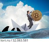 Купить «Businessman rowing on dollar boat in business financial concept», фото № 32083581, снято 5 июля 2020 г. (c) Elnur / Фотобанк Лори