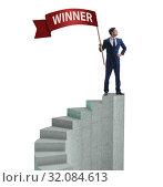 Купить «Businessman with winner banner isolated on white», фото № 32084613, снято 22 февраля 2020 г. (c) Elnur / Фотобанк Лори