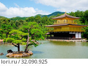 Купить «Asia, Japan, Kansai Region, Kyoto, Rokuon-ji Temple, Kinkaku-ji, The Golden Pavillon», фото № 32090925, снято 17 августа 2018 г. (c) age Fotostock / Фотобанк Лори