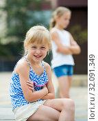 Купить «Two quarreled little girls», фото № 32091349, снято 20 июля 2017 г. (c) Яков Филимонов / Фотобанк Лори
