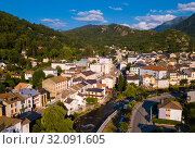 Ax-les-Thermes with buildings and The Lauze river in France (2019 год). Стоковое фото, фотограф Яков Филимонов / Фотобанк Лори