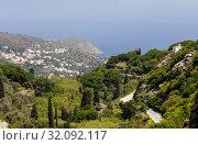 Купить «View of the mountains and the sea from the cliff (Andros Island, Greece, Cyclades)», фото № 32092117, снято 28 апреля 2019 г. (c) Татьяна Ляпи / Фотобанк Лори
