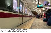 Купить «29 APRIL 2019 ROME, ITALY: Subway train entering station», видеоролик № 32092673, снято 31 марта 2020 г. (c) Константин Шишкин / Фотобанк Лори