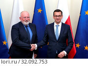 Warsaw, Poland 18.06.2018. Frans Timmermans First Vice-President of the European Commission visiting Poland. Pictured: PM Mateusz Morawiecki and Frans Timmermans. Редакционное фото, фотограф Kleta / age Fotostock / Фотобанк Лори