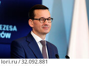 Warsaw, Poland 22.01.2019. Prime Minister of Poland Mateusz Morawiecki at the meeting with Markus Schafer (Member of the Board of Management of Daimler... Редакционное фото, фотограф Kleta / age Fotostock / Фотобанк Лори