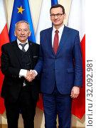 15.05.2019 Warsaw, Poland. PM of Poland Mateusz Morawiecki at the meeting with Jaroslav Kubera. Редакционное фото, фотограф Kleta / age Fotostock / Фотобанк Лори