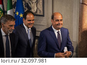 Nicola Zingaretti, Andrea Marcucci, Graziano Delrio during the press conference at the Quirinale of the Parliamentary Group 'Democratic Party' after consultation... (2019 год). Редакционное фото, фотограф Agf/Alessandro Serrano' / age Fotostock / Фотобанк Лори