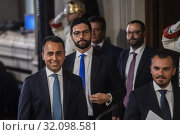 Luigi Di Maio, Francesco D'Uva, Stefano Patuanelli during the press conference at the Quirinale of the Parliamentary Group 'M5S' after consultation with... (2019 год). Редакционное фото, фотограф Agf/Alessandro Serrano' / age Fotostock / Фотобанк Лори