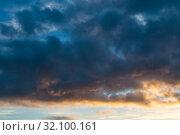 Купить «Небесный закатный пейзаж. Голубое небо. Blue dramatic sunset sky background - colorful clouds lit by sunlight. Vast sky landscape panoramic scene, sunset evening view», фото № 32100161, снято 21 ноября 2018 г. (c) Зезелина Марина / Фотобанк Лори