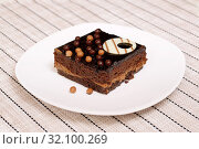 Купить «Шоколадный торт. Кусок бисквитного торта на белой тарелке», фото № 32100269, снято 21 августа 2017 г. (c) ирина реброва / Фотобанк Лори