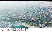 Купить «Aerial panoramic view of modern Barcelona cityscape on Mediterranean coast, Spain», видеоролик № 32105117, снято 16 ноября 2018 г. (c) Яков Филимонов / Фотобанк Лори