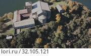 Купить «Aerial view of Sant Pere de Casserres - Benedictine monastery in Spain», видеоролик № 32105121, снято 16 ноября 2018 г. (c) Яков Филимонов / Фотобанк Лори