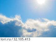 Купить «Небесный пейзаж. Голубое небо. Blue sky background - picturesque colorful clouds lit by sunlight, picturesque sky landscape», фото № 32105413, снято 16 сентября 2018 г. (c) Зезелина Марина / Фотобанк Лори