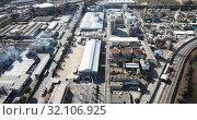Купить «Aerial panoramic view of large vinyl producer - chemical plant at Martorell, included in INOVYN group», видеоролик № 32106925, снято 5 марта 2019 г. (c) Яков Филимонов / Фотобанк Лори