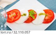 Купить «Light salad with young cheese», фото № 32110057, снято 19 октября 2019 г. (c) Яков Филимонов / Фотобанк Лори