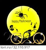 Spider on the background of the yellow moon. Стоковая иллюстрация, иллюстратор vlasova / Фотобанк Лори