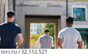 Купить «young men or male friends running outdoors», видеоролик № 32112521, снято 27 июля 2019 г. (c) Syda Productions / Фотобанк Лори