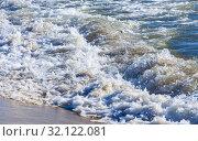 Купить «Waves on the sea shore», фото № 32122081, снято 20 сентября 2019 г. (c) Юрий Бизгаймер / Фотобанк Лори