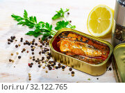 Купить «Tin can with smoked sprats, sardines, closeup», фото № 32122765, снято 19 мая 2020 г. (c) Яков Филимонов / Фотобанк Лори