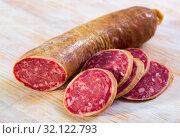 Купить «Dry cured sausage Salchichon», фото № 32122793, снято 19 сентября 2019 г. (c) Яков Филимонов / Фотобанк Лори