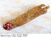 Купить «Dry cured sausage Salchichon», фото № 32122797, снято 19 сентября 2019 г. (c) Яков Филимонов / Фотобанк Лори