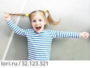 Portrait of funny happy little girl. Стоковое фото, фотограф ivolodina / Фотобанк Лори