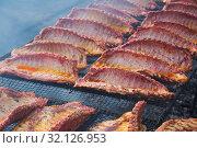 Купить «pork ribs preparing on grill brazier», фото № 32126953, снято 30 апреля 2017 г. (c) Яков Филимонов / Фотобанк Лори