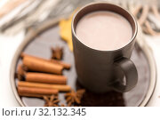 Купить «close up of cup of hot chocolate with cinnamon», фото № 32132345, снято 25 октября 2018 г. (c) Syda Productions / Фотобанк Лори