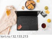 Купить «laptop, tea, camera, autumn leaves and sweater», фото № 32133213, снято 26 октября 2018 г. (c) Syda Productions / Фотобанк Лори