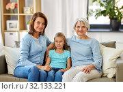 Купить «portrait of mother, daughter and grandmother», фото № 32133221, снято 5 мая 2019 г. (c) Syda Productions / Фотобанк Лори