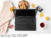 Купить «laptop, tea, camera, autumn leaves and sweater», фото № 32133397, снято 26 октября 2018 г. (c) Syda Productions / Фотобанк Лори