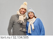 Купить «happy couple in winter clothes», фото № 32134505, снято 17 марта 2019 г. (c) Syda Productions / Фотобанк Лори