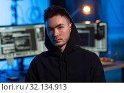 Купить «asian hacker in dark room with computers at night», фото № 32134913, снято 27 марта 2019 г. (c) Syda Productions / Фотобанк Лори
