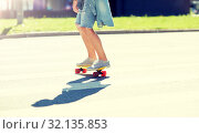 Купить «teenage boy on skateboard crossing city crosswalk», фото № 32135853, снято 19 июля 2016 г. (c) Syda Productions / Фотобанк Лори