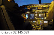 Купить «Civil aircraft cockpit.», видеоролик № 32145089, снято 10 апреля 2019 г. (c) Игорь Жоров / Фотобанк Лори