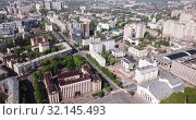 Купить «Panoramic aerial view of city center of Voronezh with Lenin Square, Russia», видеоролик № 32145493, снято 5 мая 2019 г. (c) Яков Филимонов / Фотобанк Лори
