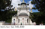 Купить «Foros. Crimea - June 9. 2019. Church of the Resurrection», видеоролик № 32145849, снято 6 сентября 2019 г. (c) Володина Ольга / Фотобанк Лори
